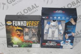 Assorted Children's Toy Items to Include Pop Funkoverse Strategy Game and a Red Five Motion Robot