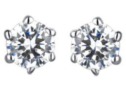 Platinum diamond earrings, Metal Platinum 900, Wei