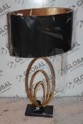 Gold and Triple Hoop Designer Table Lamp RRP £110 (Public Viewing and Appraisals Available)