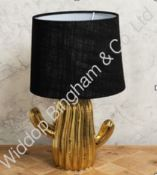 Boxed Brand New Hestia Gold Ceramic Base Black Fabric Shade Painted Table Lamps RRP £40 (L1135)