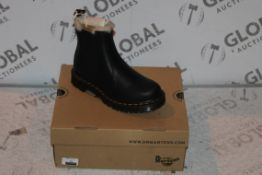 Boxed Pair of Doc Martins Burnished Wyoming Size UK4 Black Leather Leonore Boots RRP £150