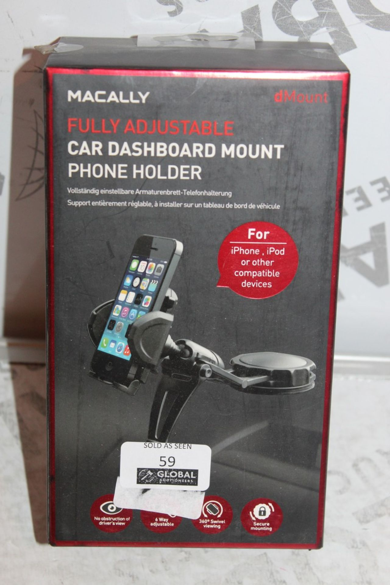 Lot 59 - Lot to Contain 4, Boxed Brand-New, Macally Mount, Car Dashboard Phone Holders, Combined RRP£80.00