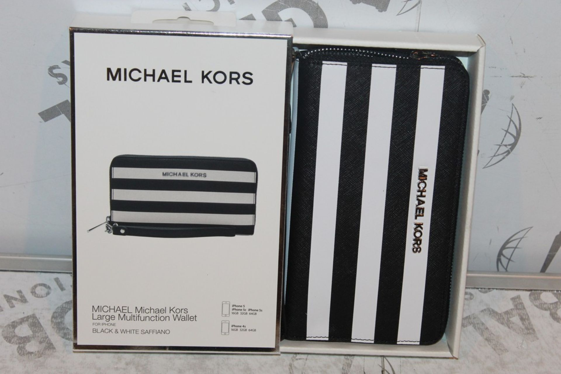 Lot 45 - Boxed Brand-New Michael Kors, Large Multifunction, Black and White Saffiano, Wallet, RRP£55.00