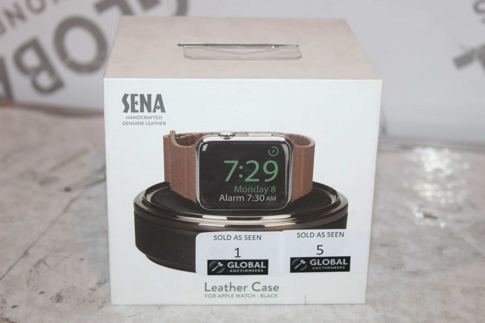 Lot 5 - Boxed Brand-new Sena, Hand Crafted genuine Leather, Black Apple Watch Box, RRP£45.00