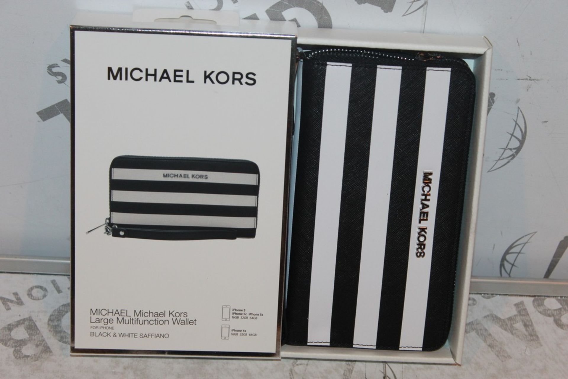 Lot 44 - Boxed Brand-New Michael Kors, Large Multifunction, Black and White Saffiano, Wallet, RRP£55.00