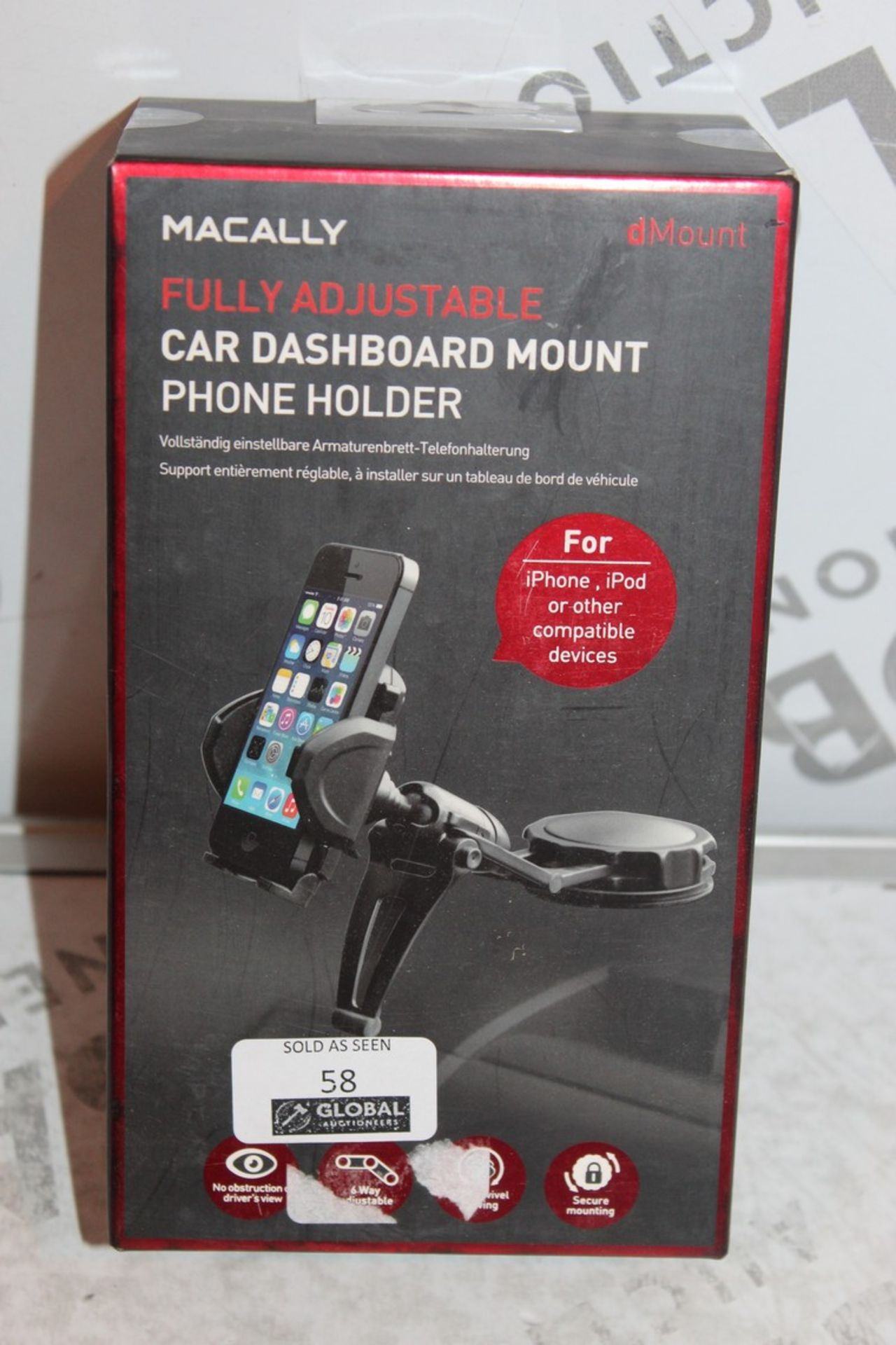 Lot 58 - Lot to Contain 4, Boxed Brand-New, Macally Mount, Car Dashboard Phone Holders, Combined RRP£80.00