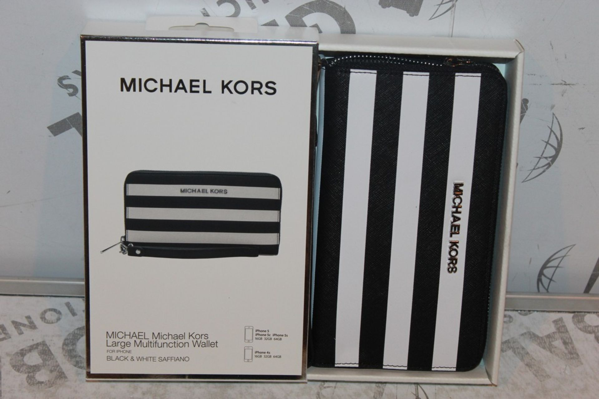 Lot 47 - Boxed Brand-New Michael Kors, Large Multifunction, Black and White Saffiano, Wallet, RRP£55.00
