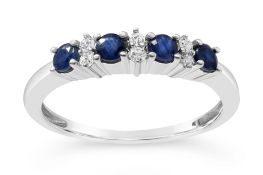 Sapphire and Diamond Eternity Ring, Metal 9ct White Gold, Weight 1.74, Diamond Weight (ct) 0.08,