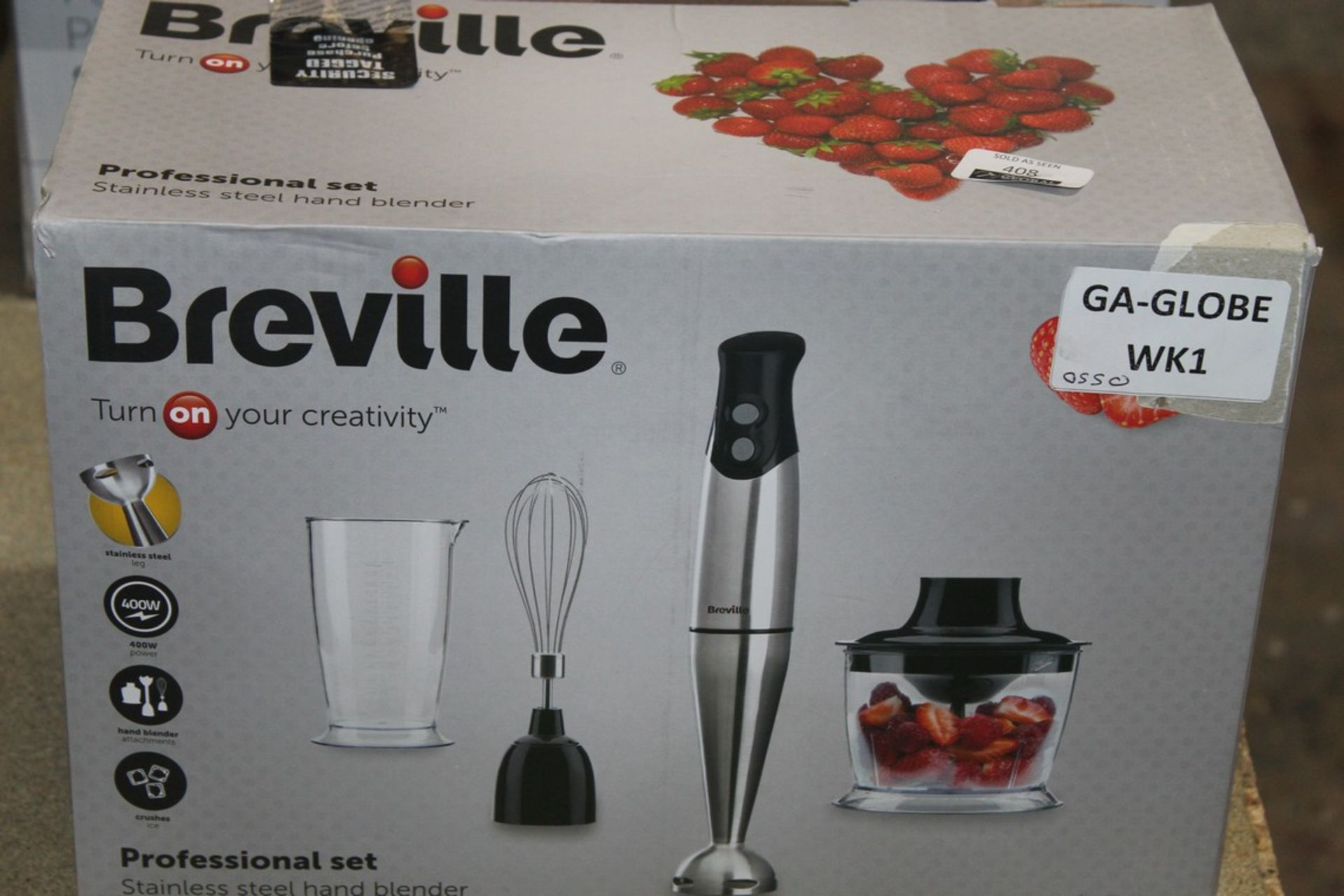 Lot 408 - Boxed Brevelle Professional Set Stainless Steel Stick Hand Blender RRP £55 (Untested Customer