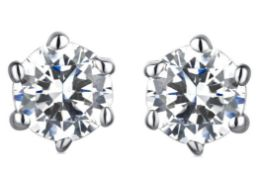 Platinum Diamond Earrings, Metal Platinum 900, Wei