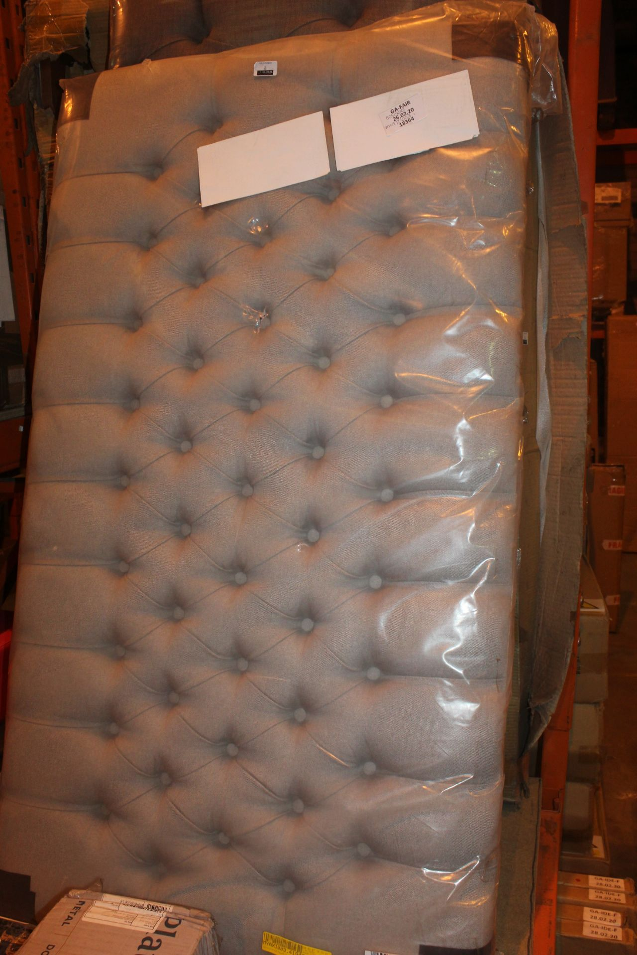 Lot 8 - Grey Double Designer Headboard RRP £50. IMAGES ARE FOR ILLUSTRATION PURPOSES ONLY AND MAY NOT BE