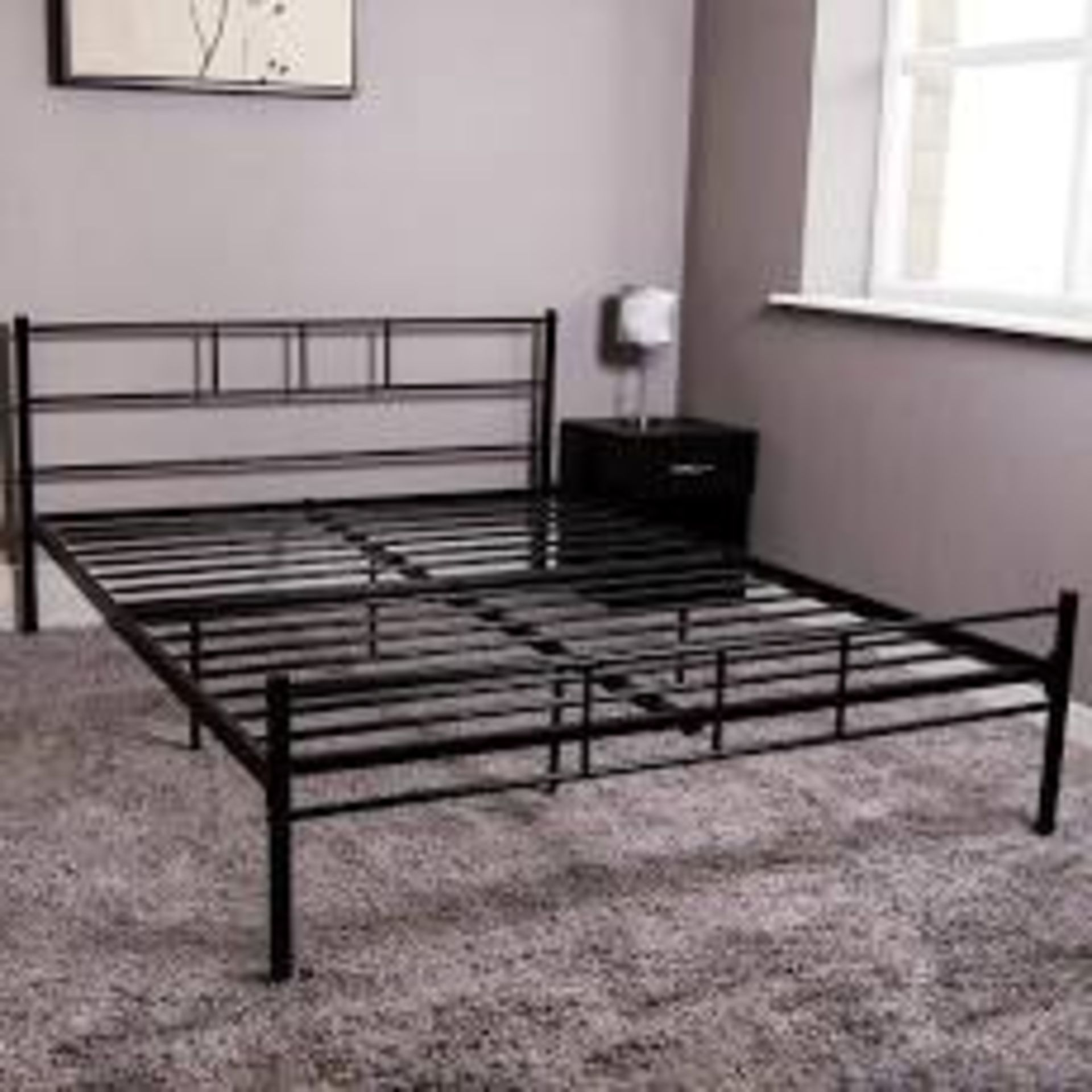 Lot 6 - Boxed Double Metal Bed In Black Powder Coating RRP £100 (18364) IMAGES ARE FOR ILLUSTRATION PURPOSES