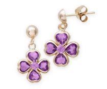 Amethyst natural gemstone flower shaped earrrings