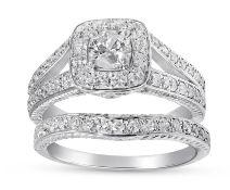 Bridal Set of Matching Engagement and Wedding ring - 1 carat Diamond Total