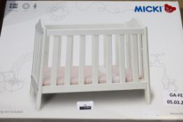 Boxed Micki Wooden Kids Cot Bed With Doll House Cot Toy with Bedding RRP £60 (Appraisals Available)