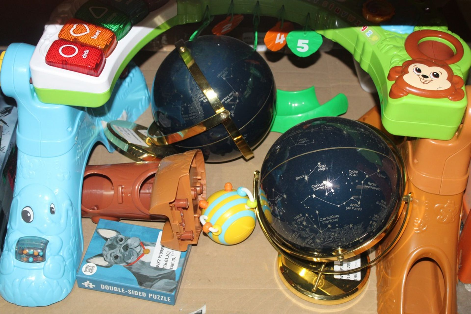 Lot 356 - Assorted Items To Include Twister Lamps, Double Sided Duck Puzzles, Gloves and Leap Frog Activity