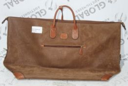 Bricks Brown Leather Waxed Cotton Holdall RRP £290 (RET01210512) (Appraisals Available)