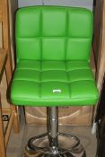 Queben Green Leather & Chrome Gas Lift Swivel Bar Stool RRP £50 (18136) (Appraisals Available)