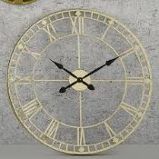Boxed Pacific Home Large Anti Gold Round Wall Clocks RRP £75 Each (1694137) (Appraisals Available)