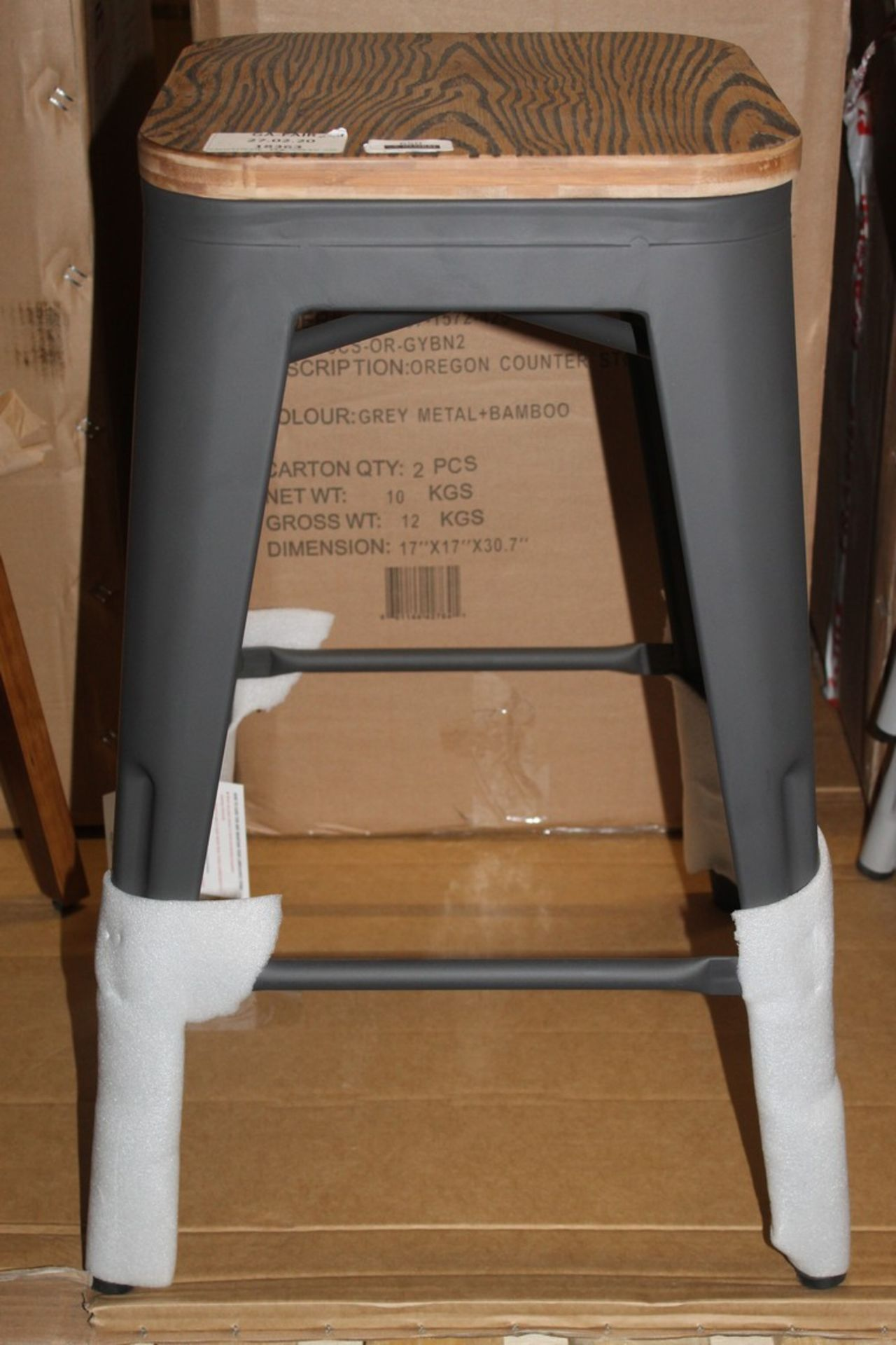 Los 650 - Boxed Claremont Industrial Look Metal And Wooden Barstools RRP £75 Each (18363) (Appraisals