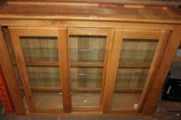 Warm Honey Triple Door Sliding Glazed Display Unit