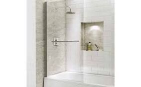 Boxed Straight Bath Screen With Towel Rail RRP £70 (19374) (Pictures Are For Illustration Purposes