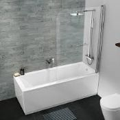 Boxed Polished Chrome Square Bath Screen With Fixed Panel & Rail RRP £100 (19373) (Pictures Are