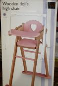 Boxed John Lewis & Partners Wooden Dolls Toy Highchair RRP £50 (NBW589854) (Pictures Are For