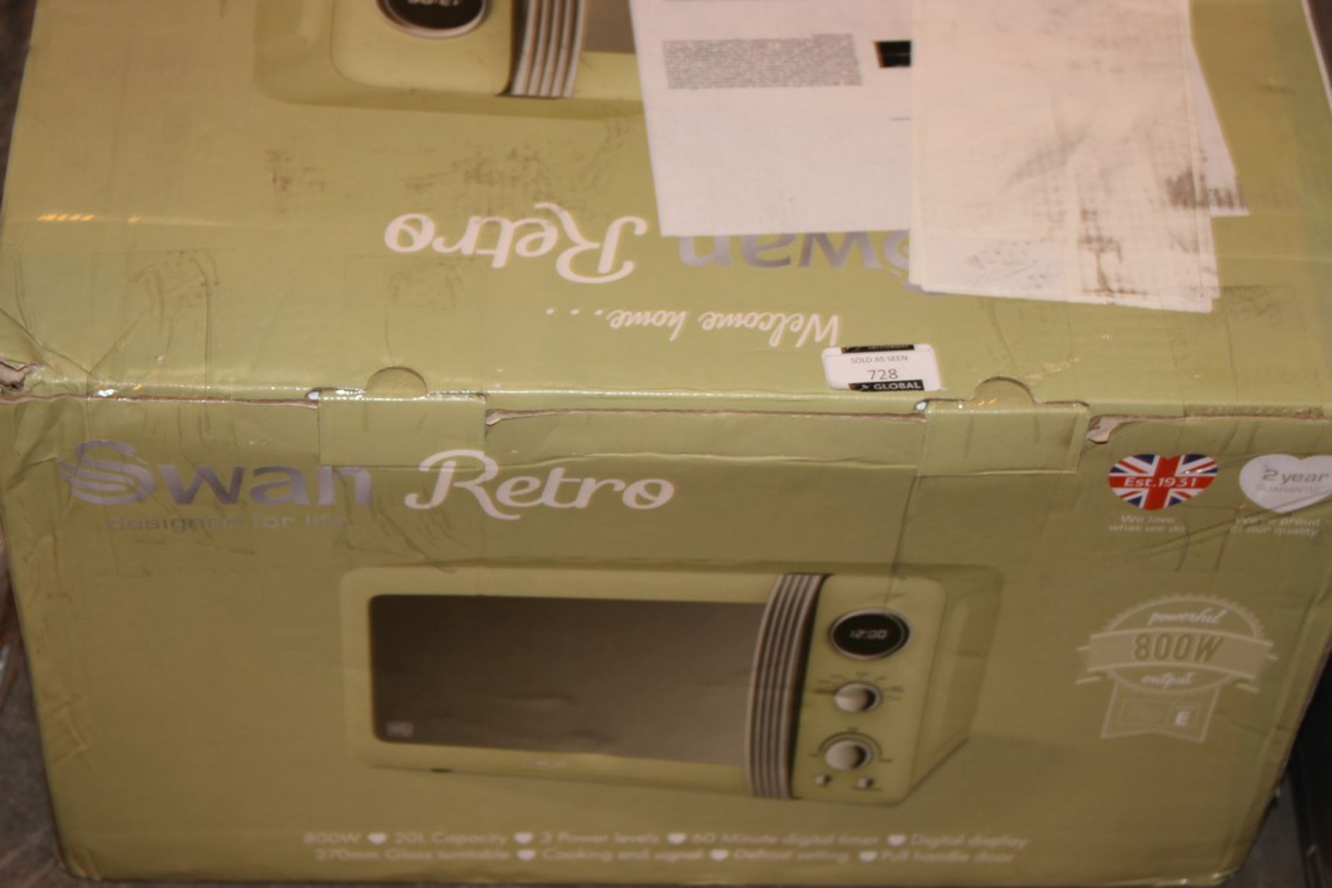 Lot 728 - Boxed Swan Retro Sage Green Counter Top Microwave RRP £80 (Pictures Are For Illustration Puposes