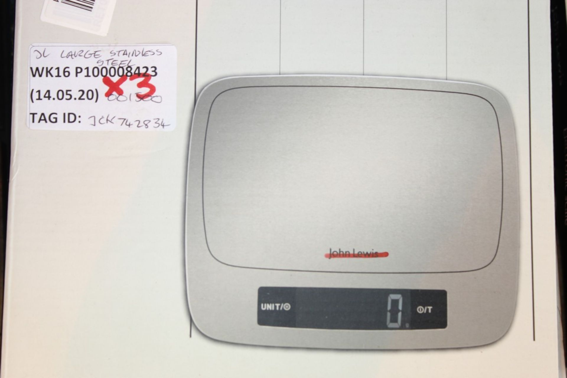 Lot 243 - Boxed Pairs John Lewis & Partners Stainless Steel Electronic Weighing Scales RRP £25 Each (