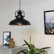 Lot To Contain 3 Boxed Mini Sun Industrial Black Pendant Shade Ceiling Light Combined RRP £120 (