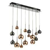 Boxed Dark Lighting Aurelia/Ernestine 15 Light Bar Black Chrome & Multi Coloured Pendant Light