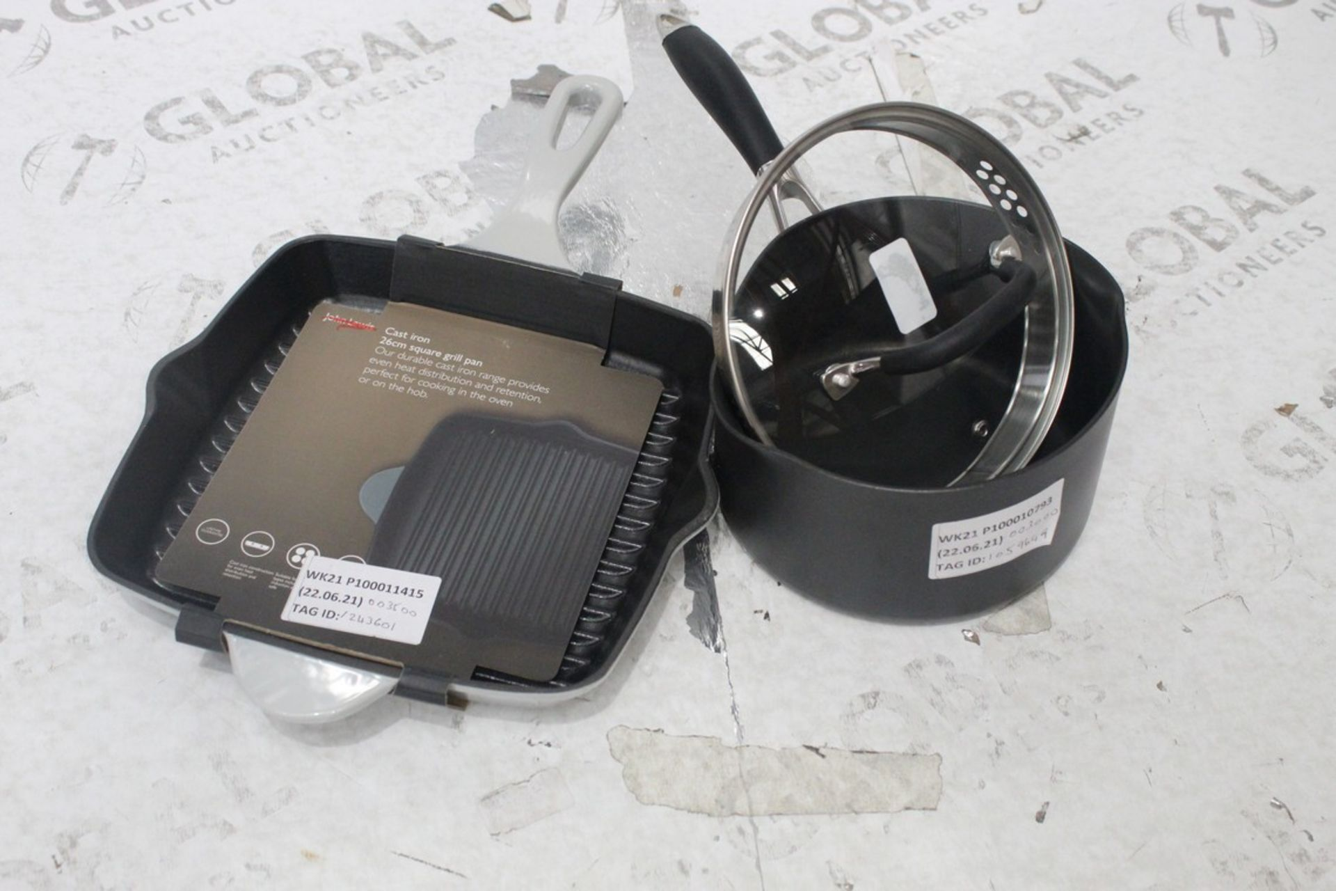 Lot 217 - Assorted Items To Include John Lewis And Partners Non Stick Saucepan And A Cast Iron Square Grill