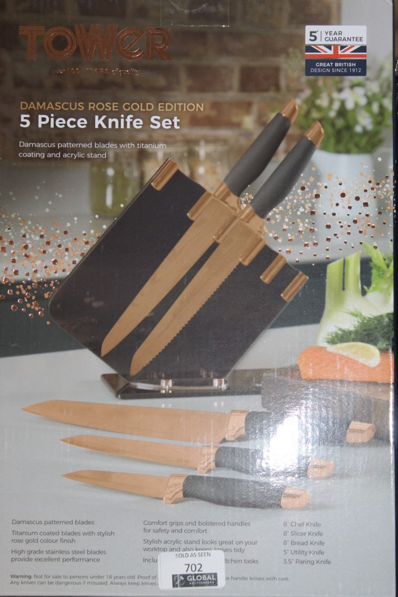 Lot 702 - Boxed Tower Demasks Rose Gold Edition 5 Piece Knife Set RRP £80 (Pictures Are For Illustration