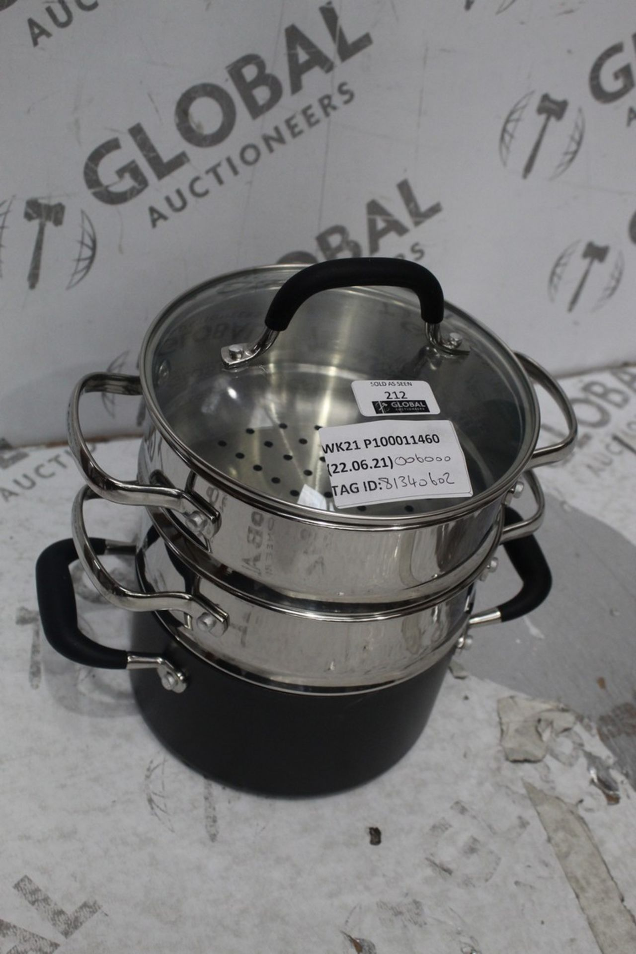 Lot 212 - 3 Tier The Pan Steamer Pan RRP £60 (8134060) (Pictures Are For Illustration Purposes Only) (