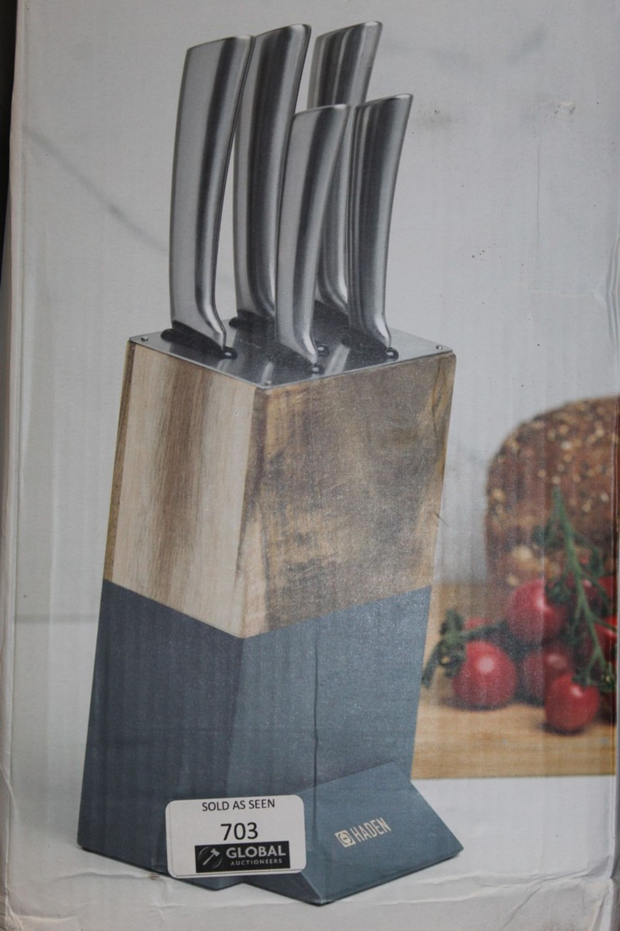 Lot 703 - Boxed Hayden Perf Acacia Knife Block Set RRP £90 (Pictures Are For Illustration Purposes Only) (