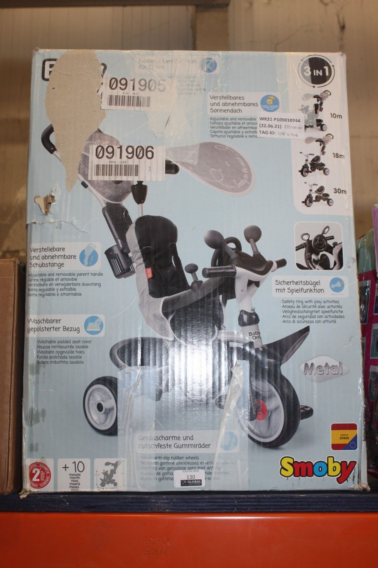 Lot 130 - Boxed Smoby 3 In 1 Trike RRP £100 (1080706) (Pictures Are For Illustration Purposes Only) (