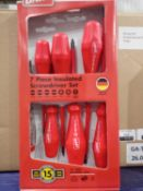 Lot to contain 3 x 7 piece insulated screwdriver sets