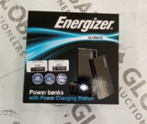 Boxed energizer ultimate power banks with charging station