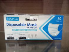 Box Of 50 Teaegg Non Medical Disposable 3Ply Type Mask