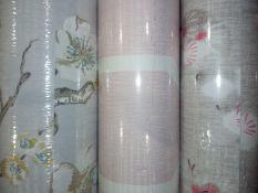 3 assorted rolls of designer wallpaper