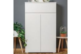 Boxed Hilary Wooden Shoe Storage Cupboard In White RRP £170 (Pictures Are For Illustration