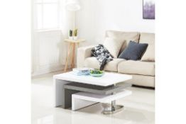Boxed Design White Gloss And Grey High Gloss Coffee Table RRP £285 (Pictures Are For Illustration