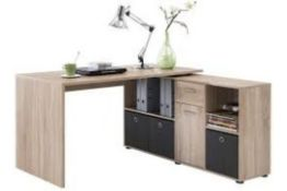 Boxed 136X75X68CM Designer Canadian Oak Desk RRP £200 (Pictures Are For Illustration Purposes