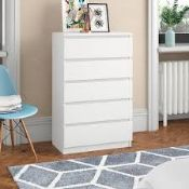 Boxed Zip Code Design Tonya 5 Drawer Chest Of Drawers RRP £210 (18981) (Pictures Are For