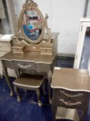 Combined RRP £460 Lot To Contain A Toulouse Set Of Draws,1 Nightstand And A Dresser Set In Gold