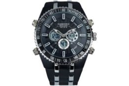 RRP £200 Globenfeld All Sports Activities Jetmaster Watch With Hard Wearing Rubber Bracelet. Jet