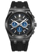 RRP £450 Henry Bridges Cavendish Blue 28mm Strap Width, Black Silicon Strap With Buckle Fastening