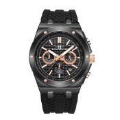 RRP £450 Henry Bridges Cavendish Rose 28mm Strap Width, Black Silicon Strap With Buckle Fastening