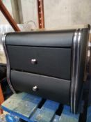 RRP £130 Boxed Veronica How To Draw Black Faux Leather Bedside Cabinet
